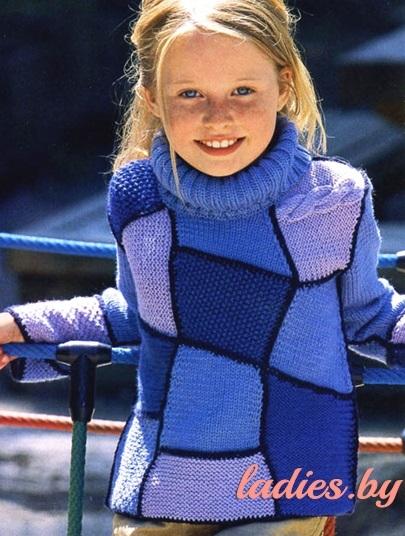 Свитер, вязаный в стиле пэчворк, для девочки 9-11 лет