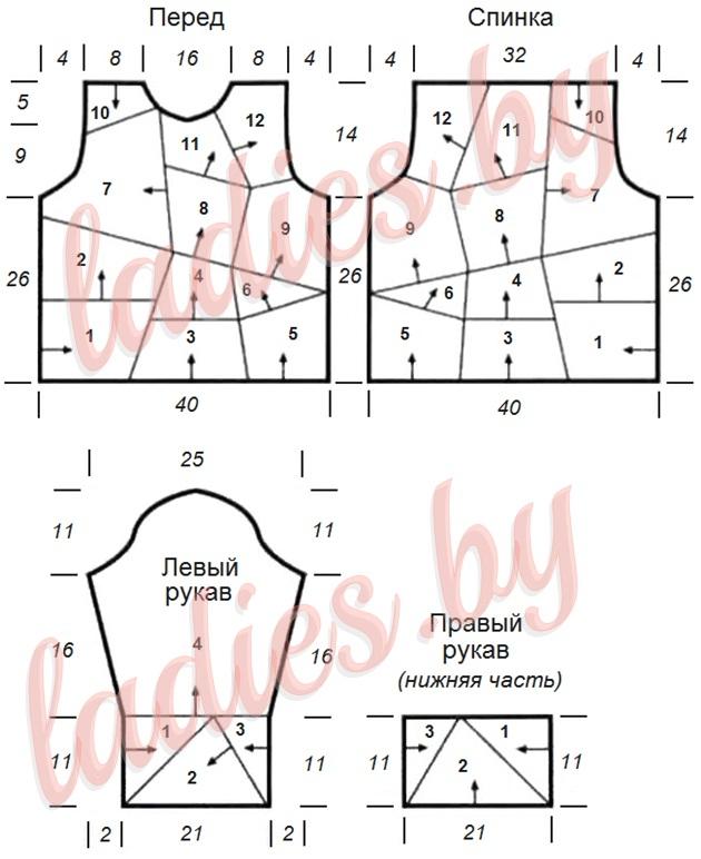 Схема-выкройка детского свитера в стиле пэчворк на 9-11 лет